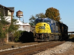 CSX 8756 past the Chase Street watertower 